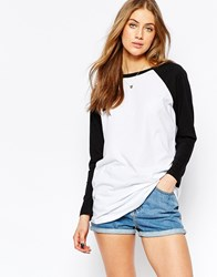 Asos Longline T Shirt With Contrast Sleeve White Black