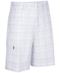Greg Norman For Tasso Elba Big And Tall Tech Plaid Golf Shorts Bright White
