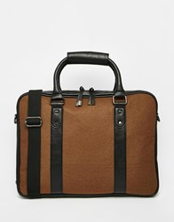 River Island Workbag In Melton Wool Mix And Faux Leather Lightbrown