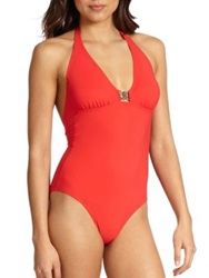 Tory Burch One Piece Logo Halter Swimsuit Poppy Red Black