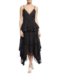 Derek Lam V Neck Lace Inset Peplum Dress Navy