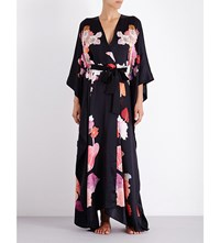 Meng Floral Print Silk Satin Kimono Black Orange