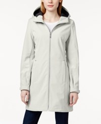 Calvin Klein Petite Zip Front Hooded Rain Coat Cement