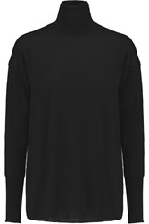 J Brand Clinton Chiffon Paneled Merino Wool Turtleneck Sweater Black