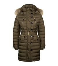 Burberry Fur Trim Down Puffer Coat Female Grey