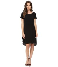Heather Silk Overlap Tee Dress Black Women's Dress