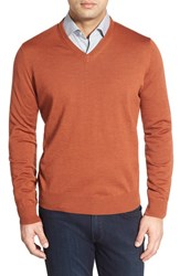 Men's Thomas Dean Regular Fit V Neck Merino Wool Sweater Burnt Orange