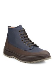 Brunello Cucinelli Two Toned Leather Boots Navy