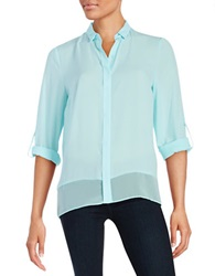 T Tahari Chiffon Button Front Blouse Cloud