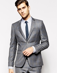 Dkny Slim Fit Check Suit Jacket Grey