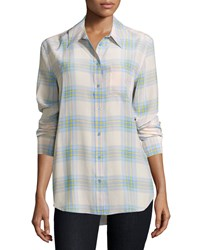 Equipment Reese Long Sleeve Plaid Silk Shirt Chalk Pink Chambray Multi