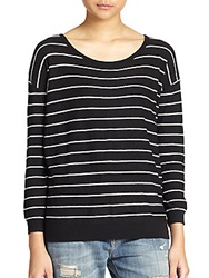 Joie Jeans Striped Boatneck Sweater Caviar