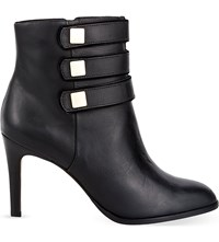 Reiss Lerici Strap Detail Leather Boots Black