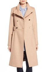 Eliza J Women's Wool Blend Long Military Coat Camel