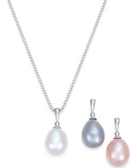 Macy's Cultured Freshwater Pearl 7 1 2 8Mm 3 Piece Interchangeable Pendant Set In Sterling Silver