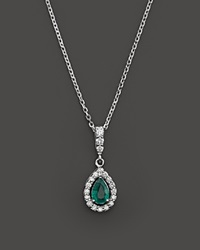Bloomingdale's Emerald And Diamond Pendant Necklace In 14K White Gold 16 Green White