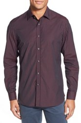 Kent And Curwen Trim Fit Check Sport Shirt Red