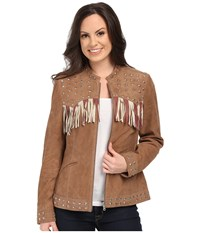 Scully Star Studded Flag Jacket Sand Women's Coat Beige