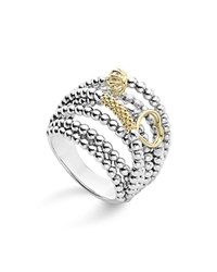 Lagos 18K Gold And Sterling Silver Domed Caviar Bead Multi Row Ring Silver Gold