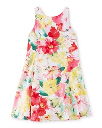 Ralph Lauren Childrenswear Sleeveless Floral Cotton Fit And Flare Dress Pink Size 2 6X Girl's Size 2