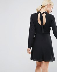 Asos High Neck A Line Dress With Open Back Black