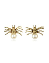 Bernard Delettrez Bronze Spider Earrings With Pearl Gold