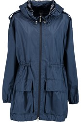 Add Hooded Silk Satin Parka Blue