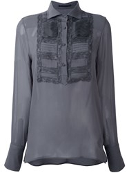 Ermanno Scervino Embroidered Front Blouse Grey