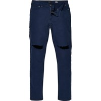 River Island Mens Dark Blue Wash Ripped Sid Skinny Jeans