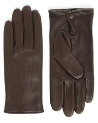 Agnelle Brown Leather Slim Touchscreen Gloves With Wool Lining