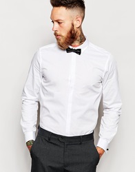 Asos Smart Shirt In Long Sleeve With Contrast Textured Collar And Bow Tie Save 21 White