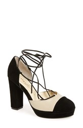 Bettye Muller Women's 'Madison' Cap Toe Platform Pump Natural Black Tan
