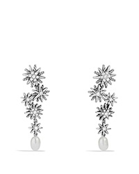 David Yurman Starburst Pearl Cascade Earring With Diamonds And Pearls Silver White