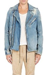 Balmain Men's Distressed Denim Moto Jacket Blue