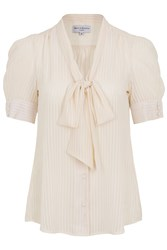Wolf And Whistle Chiffon Pussy Bow Blouse Cream