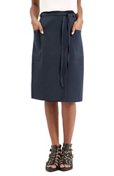 Topshop Belted Midi Skirt Navy Blue