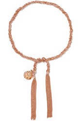 Carolina Bucci Globe Lucky 18 Karat Rose Gold And Silk Bracelet
