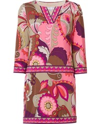 Trina Turk Abstract Print Short Dress Pink And Purple