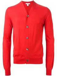Comme Des Garcons Shirt Buttoned Knit Cardigan Red