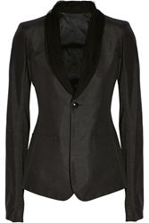 Rick Owens Tulle Trimmed Twill Blazer
