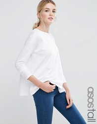 Asos Tall Baby Loop Back Long Sleeve Top White