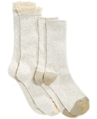 Gold Toe Women's Marled Lace Boot Socks 2 Pack Khaki