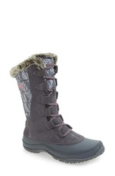 The North Face Women's 'Nuptse Purna' Waterproof Primaloft Eco Insulated Winter Boot Smoked Pearl Grey Coral
