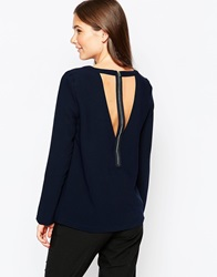See U Soon Long Sleeve Top With Cut Out Back Detail Navy