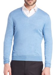 Isaia Silk And Cotton V Neck Sweater Light Blue