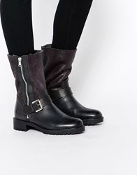 Dune Faux Fur Lined Mid Calf Boot Black