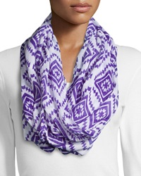 Shawlsmith Game Print Infinity Scarf Purple White