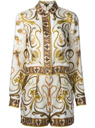Rachel Zoe Printed Silk Playsuit Metallic