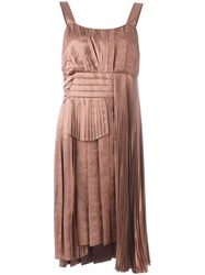 N 21 No21 Pleated Asymmetric Dress Brown