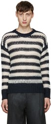 Marc Jacobs Navy Striped Crochet Sweater